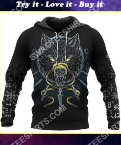 viking odin and wolf all over printed shirt