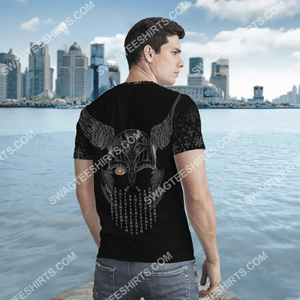 viking odin and wolf all over printed tshirt - back(1)