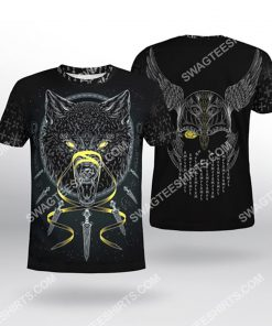 viking odin and wolf all over printed tshirt(1)