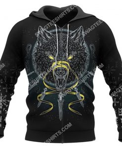 viking odin and wolf all over printed zip hoodie 1
