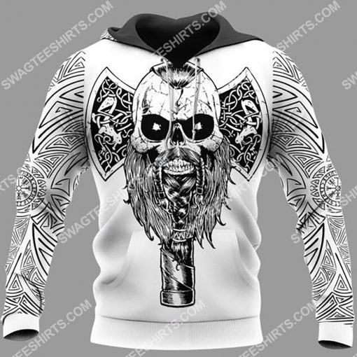 viking skull warrior and hammer all over printed hoodie 1