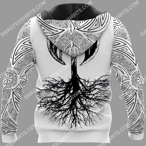 viking skull warrior and hammer all over printed hoodie - back 1