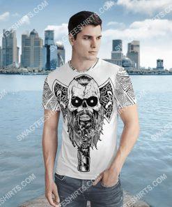 viking skull warrior and hammer all over printed shirt 2(1)
