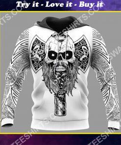 viking skull warrior and hammer all over printed shirt