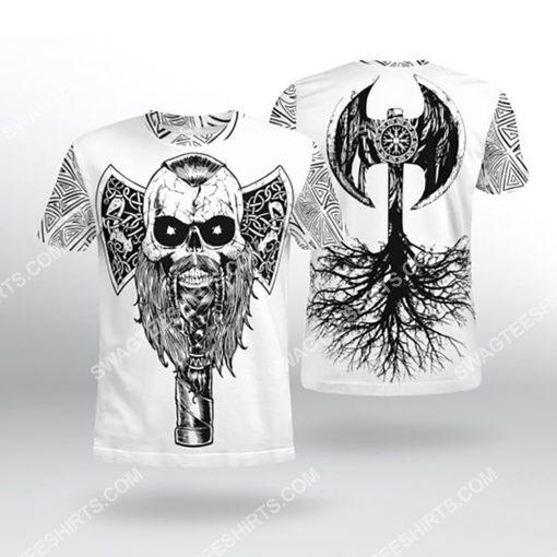viking skull warrior and hammer all over printed tshirt 1