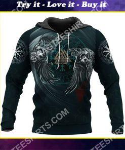 viking symbol raven valknut all over printed shirt