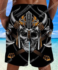 viking with skull all over printed beach shorts 2(1)