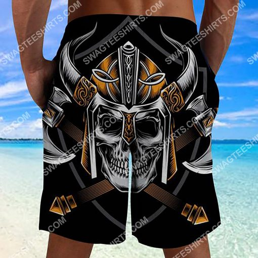 viking with skull all over printed beach shorts 2(1) - Copy