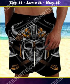 viking with skull all over printed beach shorts
