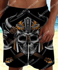 viking with skull all over printed beach shorts 3(1)