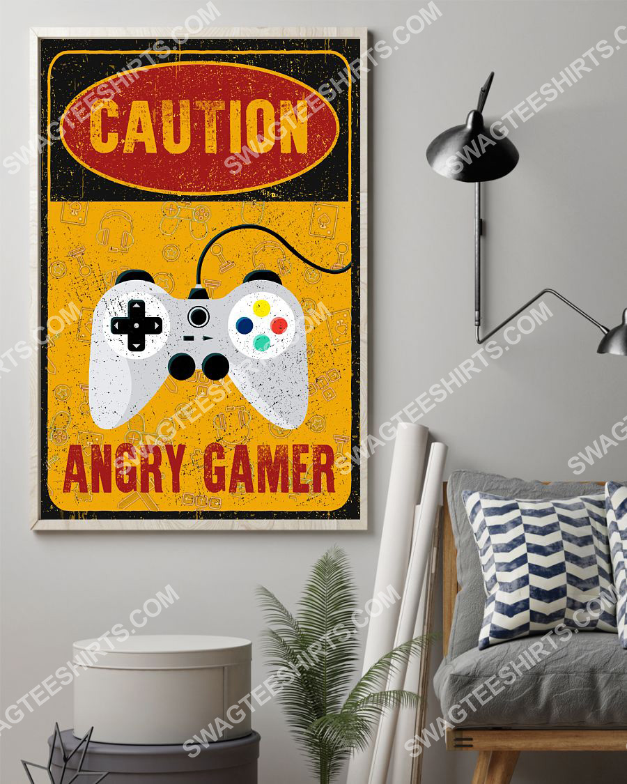 vintage caution angry gamer poster 2(1)
