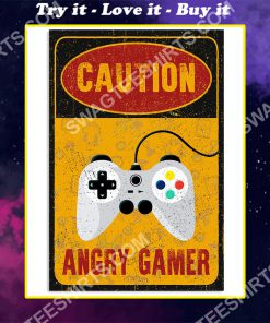 vintage caution angry gamer poster