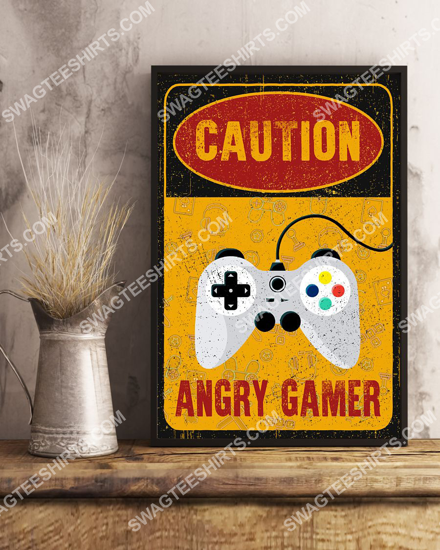 vintage caution angry gamer poster 3(1)