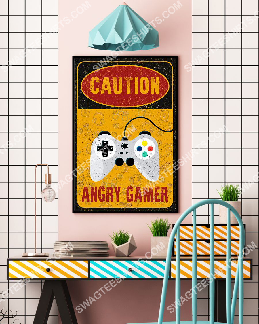 vintage caution angry gamer poster 4(1)