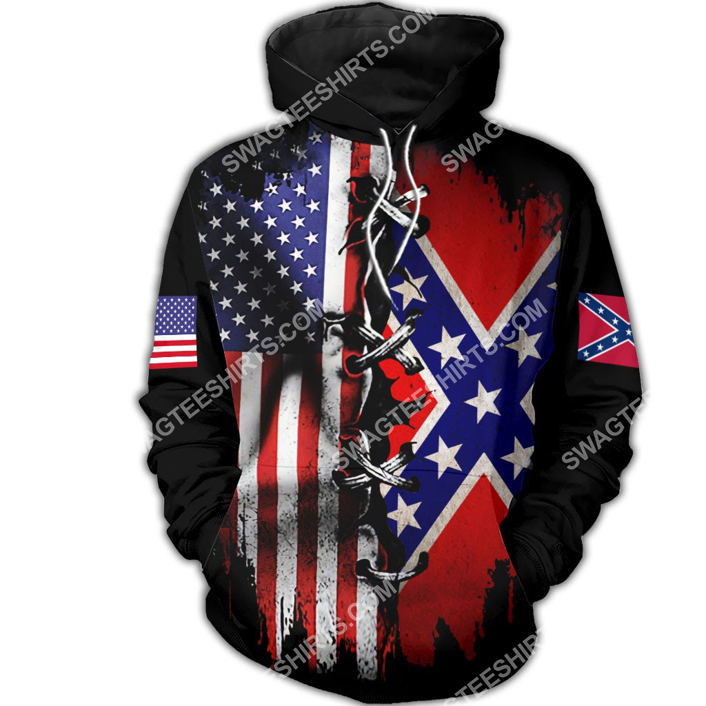 vintage confederate states of america all over printed hoodie 1