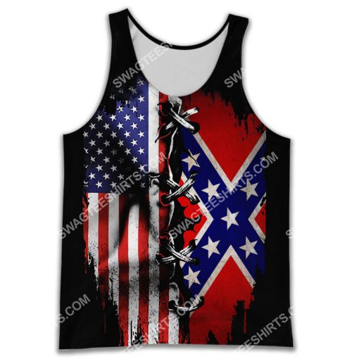 vintage confederate states of america all over printed tank top 1