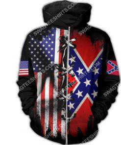 vintage confederate states of america all over printed zip hoodie 1