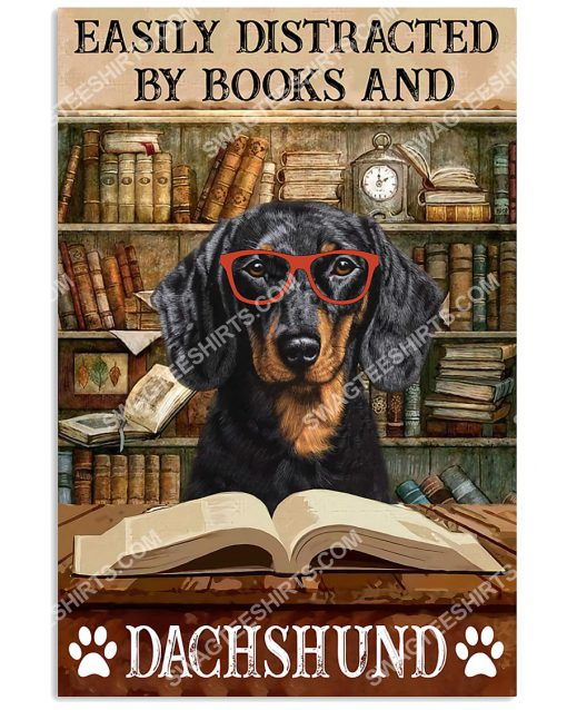 vintage easily distracted by books and dachshund poster 1(1)