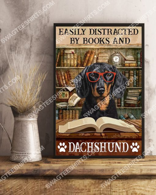 vintage easily distracted by books and dachshund poster 2(1)