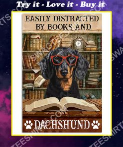vintage easily distracted by books and dachshund poster