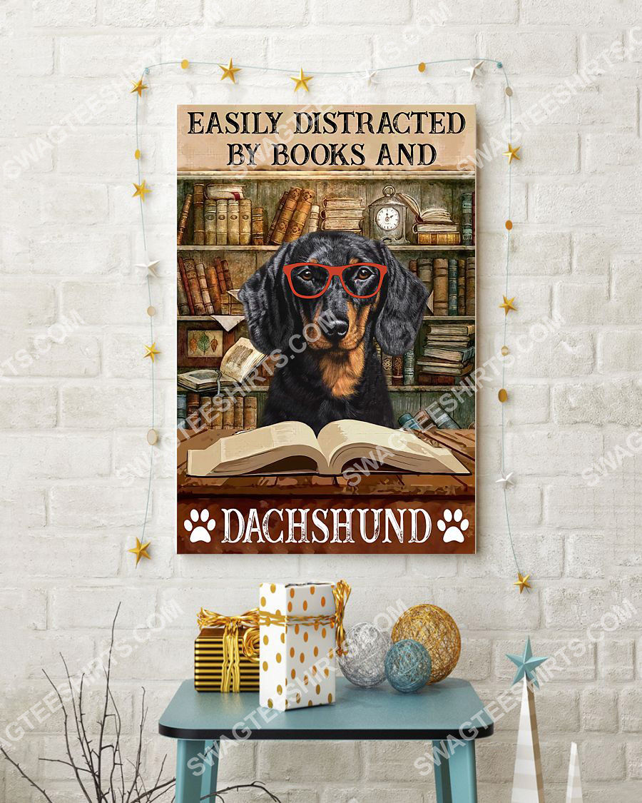 vintage easily distracted by books and dachshund poster 3(1)