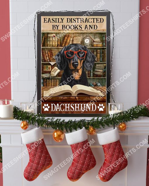 vintage easily distracted by books and dachshund poster 4(1)