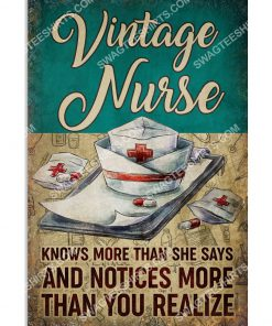 vintage nurse knows more than she says and notices more than you realize poster 1(1)