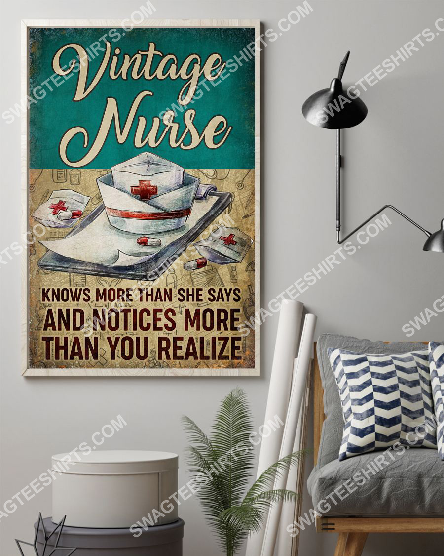 vintage nurse knows more than she says and notices more than you realize poster 2(1)