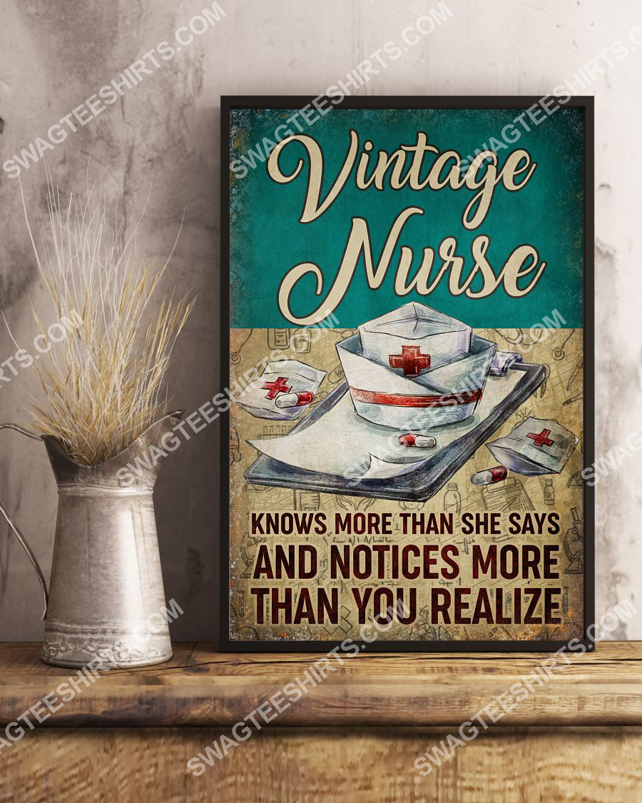 vintage nurse knows more than she says and notices more than you realize poster 3(1)