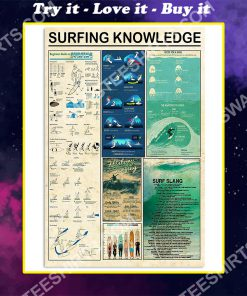 vintage surfing knowledge wall art poster