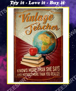 vintage teacher knows more than she says and notices more than you realize poster