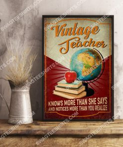 vintage teacher knows more than she says and notices more than you realize poster 3(1)