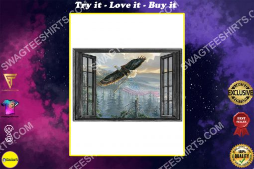 wall decor eagle by the window poster