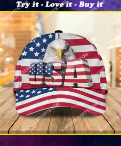 bald eagle american flag all over printed classic cap