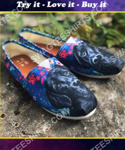 black labrador and flower all over printed toms shoes