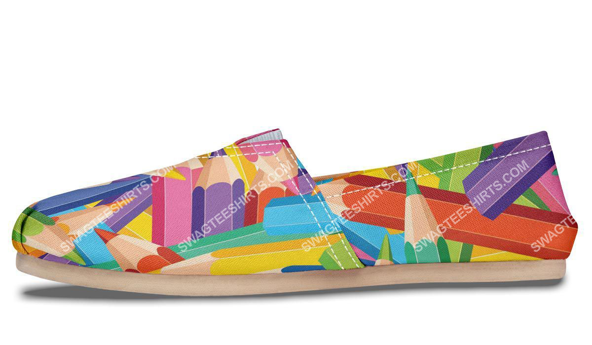 colorful pencils all over printed toms shoes 2(1)