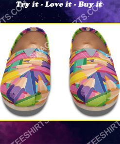colorful pencils all over printed toms shoes