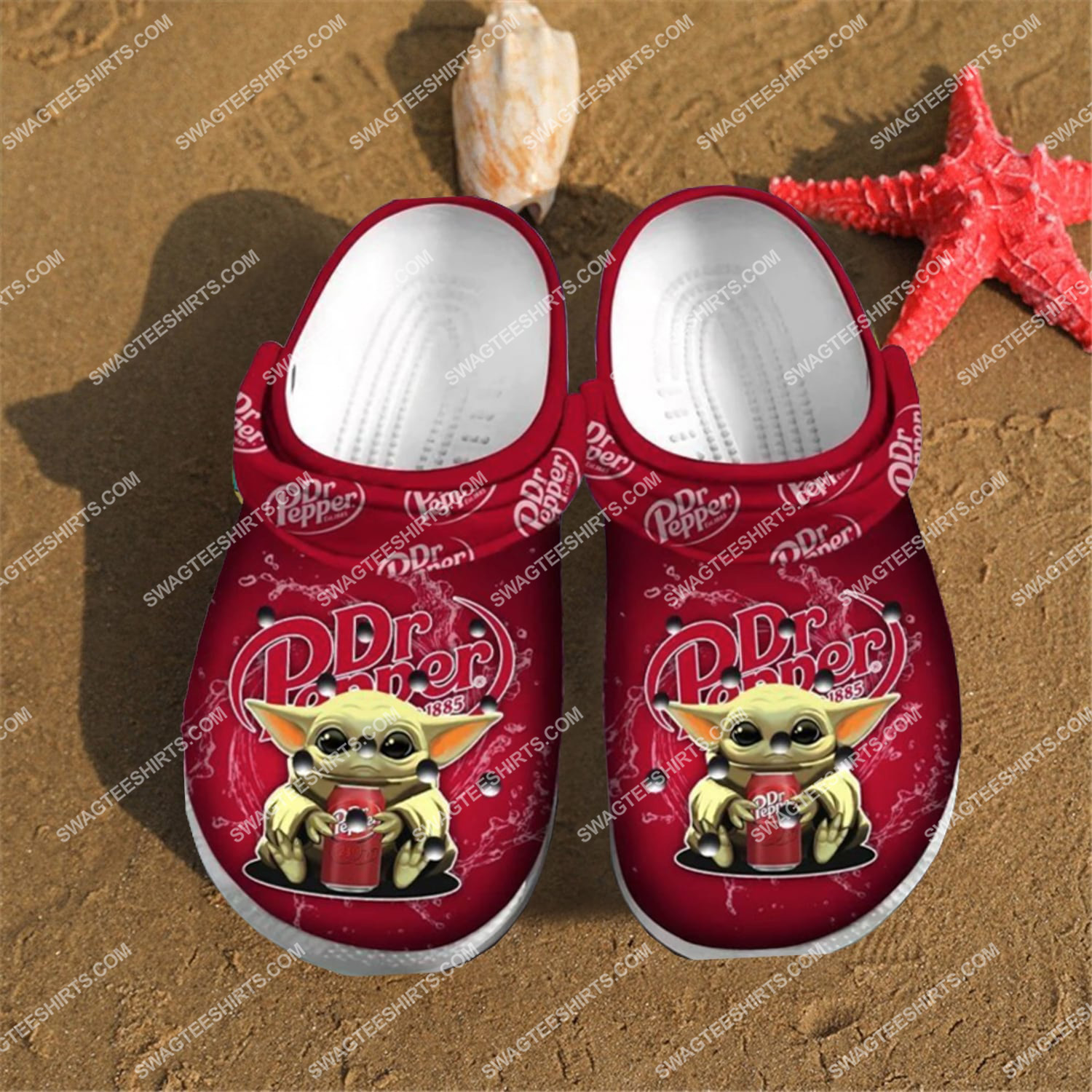 dr pepper and baby yoda all over printed crocs 2(1)