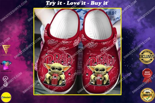 dr pepper and baby yoda all over printed crocs