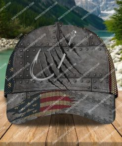 fishing hook american flag all over printed classic cap 2 - Copy (2)