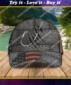 fishing hook american flag all over printed classic cap
