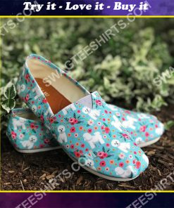 floral bichon frise all over printed toms shoes