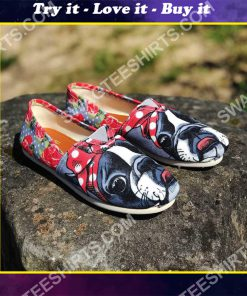floral boston terrier all over printed toms shoes