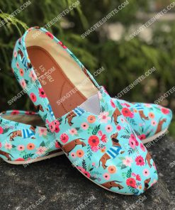 floral dachshund lover all over printed toms shoes 2(1)