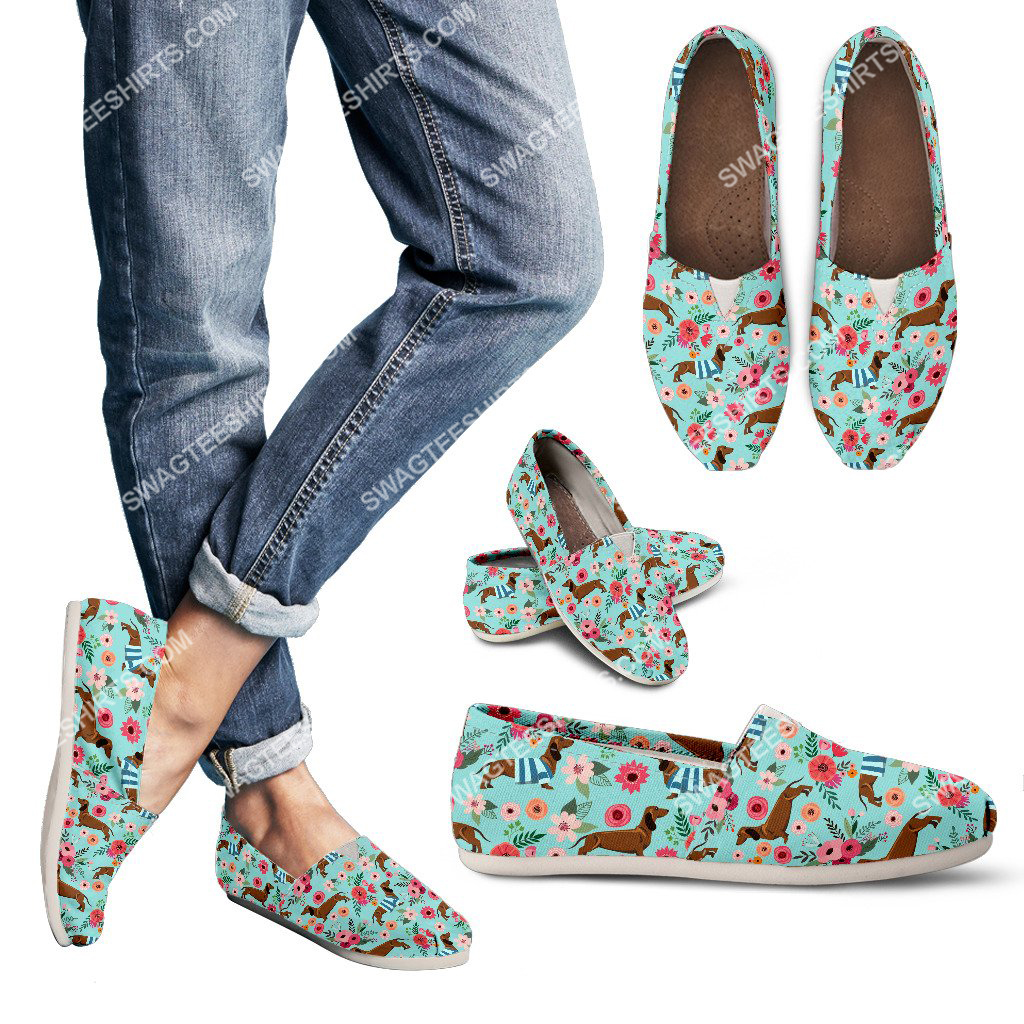 floral dachshund lover all over printed toms shoes 3(1)