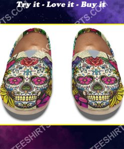 floral sugar skull all over printed toms shoes