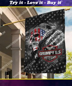 grumpy usa veteran skull all over printed flag