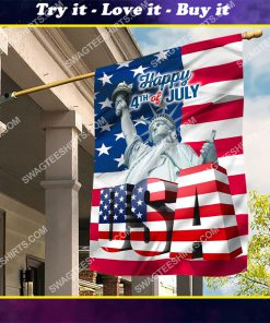 happy 4th of july all over printed flag