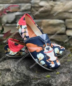 retro basset hound and flower all over printed toms shoes 2(1)