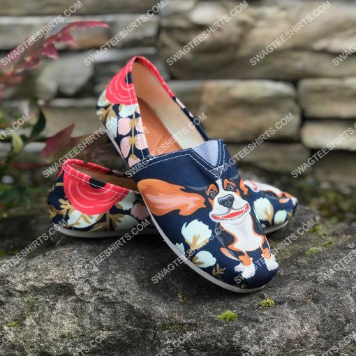 retro basset hound and flower all over printed toms shoes 2(1) - Copy